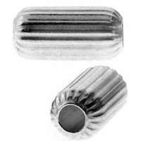 5mm x 10mm Sterling Silver Corrugated Cylinder Beads (10PK)