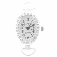 Silver Loop Rhinestone Oval Watch Face