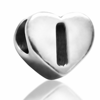7mm Heart Letter I Bead