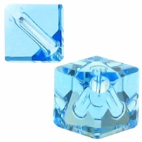 Aquamarine 5600 Swarovski Crystal 6mm Diagonal Cube Beads (5PK)