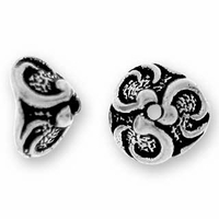 Antique Silver 7mm Lily Bead Cap