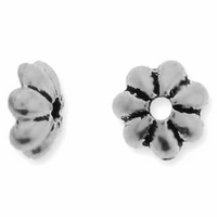 Antique Silver 5mm Petal Beadcap
