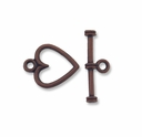 Antiqued Copper 13mm Heart Toggle Clasps (10PK)