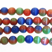 6mm Multi-Colored Cat Eye Glass Round 6mm Beads