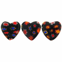 Black Puffed Heart 12x12mm Millefiori Beads (1 Strand)