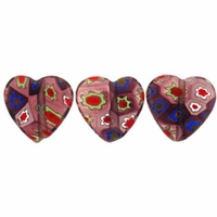 Purple Puffed Heart 12x12mm Millefiori Beads (1 Strand)