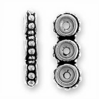 Antique Silver Beaded 3-Hole Link
