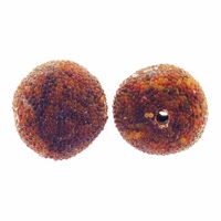 14mm Indonesia Brown Floral Design Resin Beads (5PK)