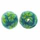 14mm Indonesia Green Floral Design Resin Beads (5PK)
