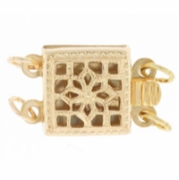 Gold Filled Filigree Box Clasp 2 Ring