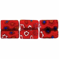 Red Puffed Square 10x10mm Millefiori Beads (1 Strand)