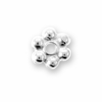3mm Bright Silver Beaded Heishi Spacer (10PK)