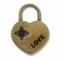 Antiqued Brass Heart Lock Charm (5PK)