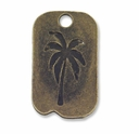 Antiqued Brass 34mm Palm Tree Dog Tag Pendant (3PK)