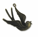 Antiqued Brass 40mm Bird Pendants(4PK)