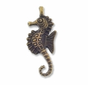 Antiqued Brass 28mm Seahorse Charm (10PK)
