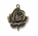 Antiqued Brass 34mm Rose Charm/Pendant (4PK)