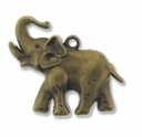 Antiqued Brass 26x38mm Elephant Charm/Pendant (3PK)