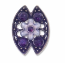 Antiqued Brass Purple Rhinestone 22mm Flower 2 Strand Spacer (1PC)