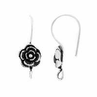 Sterling Silver Rose w/Drop Earwire (1PR)