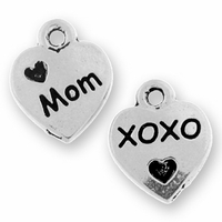 Antique Silver Love Mom Charm