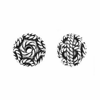 7mm Bali Style Brocade Sterling Silver Bead (1PC)