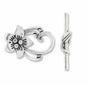 Antiqued Silver 29mm Flower Oval Toggle Clasps (2 SETS)
