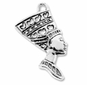 Antiqued Silver 40mm Ancient Egyptian Queen Pendant Charm (2PK)