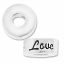 MIOVI™ Sterling Silver Large Hole 10mm LOVE Rondel Bead (1PC)