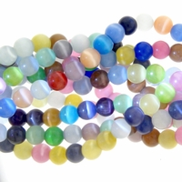 8mm Mixed Cat Eye Glass Round Beads
