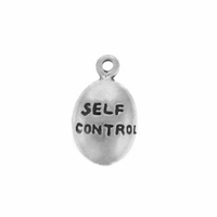 Shiny Self Control Drop Sterling Silver Charm
