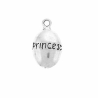 Shiny Princess Drop Sterling Silver Charm