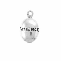 Shiny Patience Drop Sterling Silver Charm