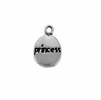 Satin Princess Drop Sterling Silver Charm