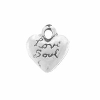 Satin Love Soul Heart Sterling Silver Charm