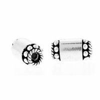9 x 5mm Bali Style Tube Sterling Silver Bead (1PC)
