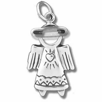 Angel with Halo Sterling Silver Charm