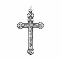 Satin Finish Sterling Silver Cross with Vine Pendant