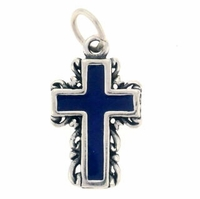 Enamel Sterling Silver Cross Sterling Silver Charm