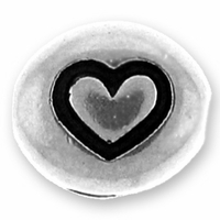 Silver/Rhodium Heart Bead