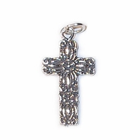 Sterling Silver Cross with Flower Design Sterling Silver Charm