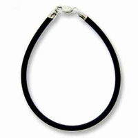 "8"" Black 3mm Rubber Bracelet w/Sterling Silver Clasps (1PC)"