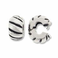 MIOVI™ Silver Antiqued 10mm Corrugated Drum Bead Stopper (1PC)