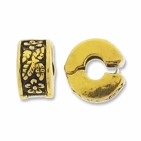 MIOVI™ Gold Antiqued 10mm Floral Drum Bead Stopper (1PC)