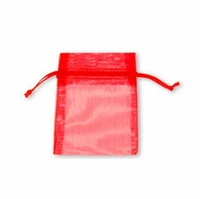 3x4 Inch Red Sheer Organza Gift Bag