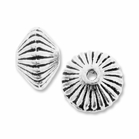 Antiqued Silver 7mm Corrugated Disc Spacer Beads (10PK)