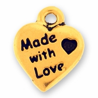 Antique Gold Made With Love Charm