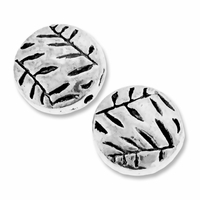 Antiqued Silver 10mm Flat Round Folage Beads (10PK)