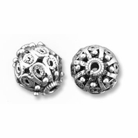 Sterling Silver 10mm Round Filigree Bali Style Beads (1PC)