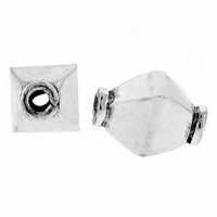 Sterling Silver Bali Style Diamond Block Sterling Silver Bead (1PC)